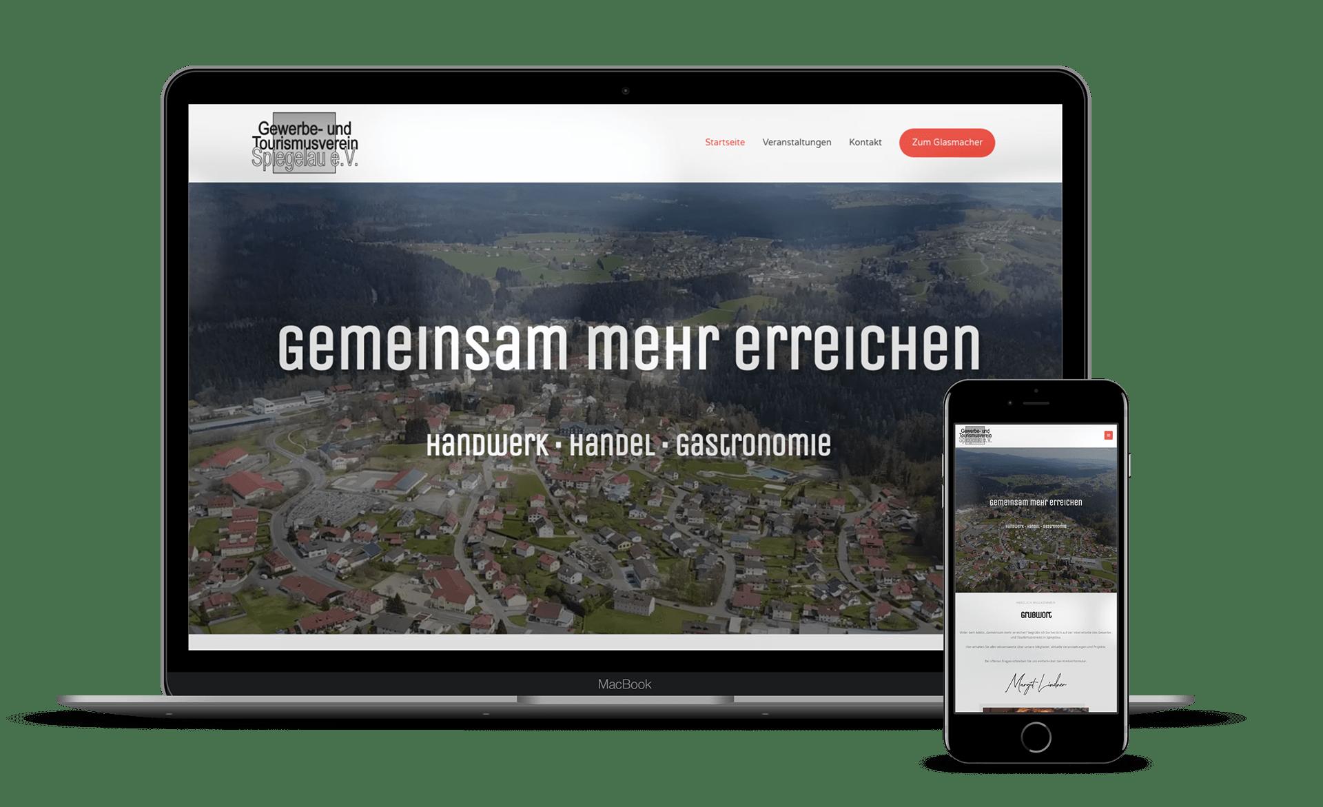 Malina Webdesign - Gewerbeverein Spiegelau Notebook